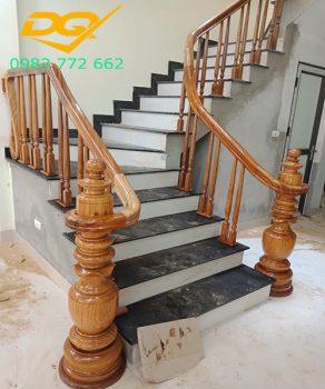 Báo giá trụ cầu thang gỗ vuông tròn lục lăng lim nam phi đẹp