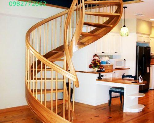 Cầu thang xoắn sắt kính gỗ bê tông đẹp nhất hi